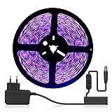 DeepDream Tira de luces LED de 5 m con interruptor de alimentación, 300 luces LED, autoadhesiva, 2835 SMD, para iluminación...