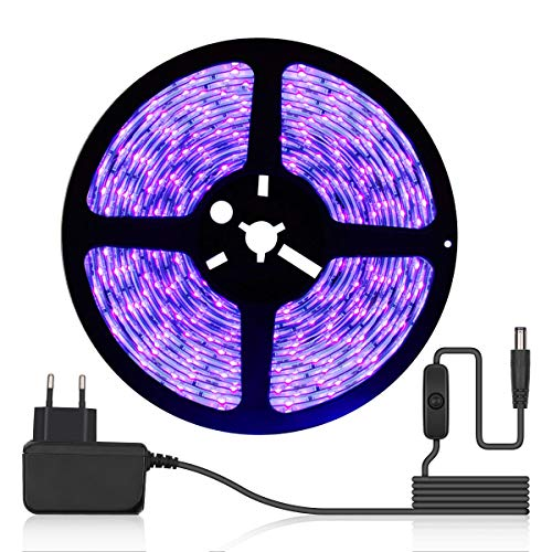 DeepDream 5M UV Schwarzlicht LED Streifen mit Schalter Netzteil,UV LED Strip 300 LEDs Lichtband,Selbstklebend 2835 SMD LED Band für Dekorationsbeleuchtung Haus Party Bar Poster[Energieklasse A+]