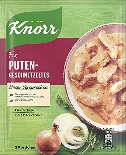 Knorr Fix Puten-Geschnetzeltes (für eine cremige Rahmsauce ohne geschmacksverstärkende Zusatzstoffe und ohne Farbstoffe), 2 Portionen
