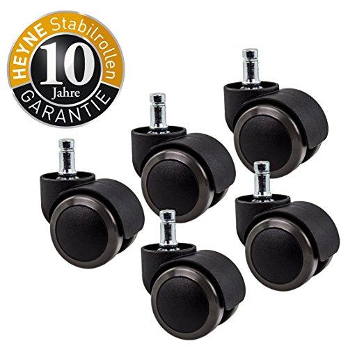 Heyne STABIL 5x Hartbodenrollen 11 mm / 50 mm Bürostuhlrollen für Hartböden - Lauffläche grau