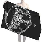 NICEWL Thor Marteau Mjolnir Dragon Ship Imprimer Serviettes de Bain Débarbouillettes,Runes Nordiques Viking Guerrier Celtique Noeud Totem,Couverture de Plage en Microfibre Vintage