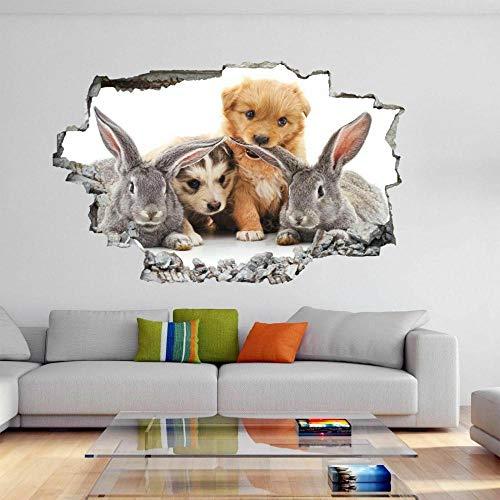 Pegatinas de pared Lindos conejos cachorros Animal etiqueta de la pared Mural calcomanía habitación de los niños decoración del hogar DE32 póster papel tapiz- 70×100cm