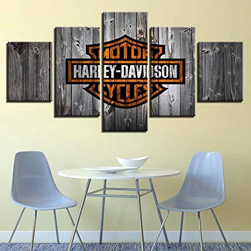 Stampa su Tela Harley Davidson HD 5 Pannelli Senza Cornice Wall Art Home Dipinti Decorazioni,A,80x150cm