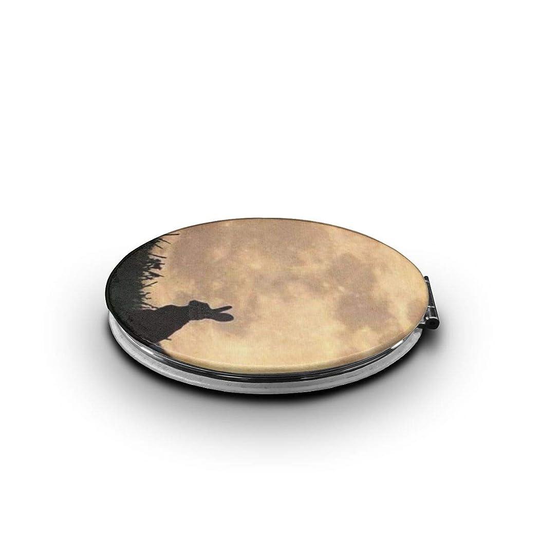 携帯ミラー 月と兎ミニ化粧鏡 化粧鏡 3倍拡大鏡+等倍鏡 両面化粧鏡 楕円形 携帯型 折り畳み式 コンパクト鏡 外出に 持ち運び便利 超軽量 おしゃれ 9.0X6.6CM