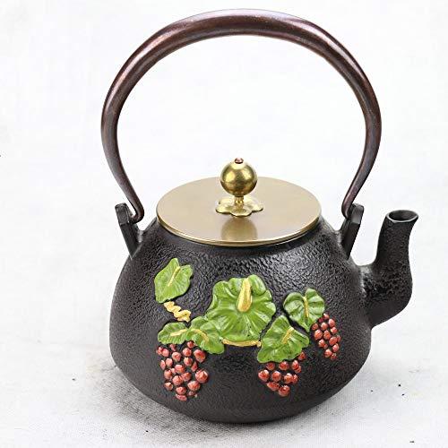 ChengBeautiful Gusseiserne Teekanne Schnecke unter dem Zaun Gusseisen Kessel kochendes Wasser Tee-Set Gussform (Farbe : Cast Iron, Size : 1200ml)