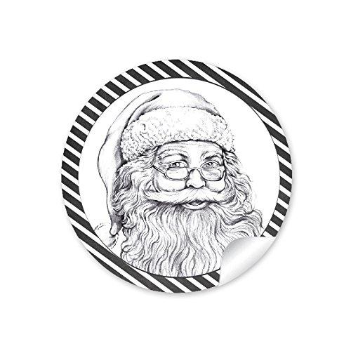 24 autocollants : 24 autocollants de Noël en noir et blanc avec père Noël, Noël, calendrier de l'Avent - Autocollants en papier - Étiquettes : 4 cm - Rond mat