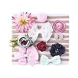 Baby Mädchen Haarband, elastisch, niedliche Blumen, Spitze, Haarringe, perfekte Foto-Requisite, 10 Stück