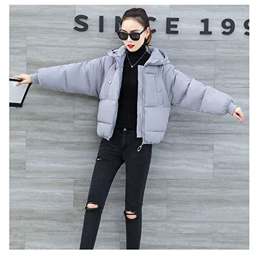 KOUPNLTM Femmes Solides Parka À Capuche Hiver Vogue Manteaux Chauds en Coton Casual Veste Femme XL Gris Vêtement