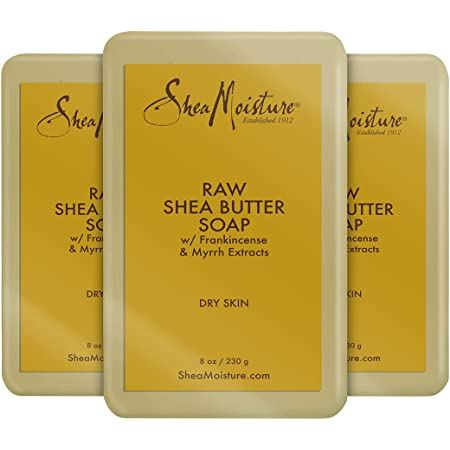 SheaMoisture Face and Body Bar Soap for Dry Skin with Paraben Free, Raw Shea Butter, Myrhh, 8 Ounce, 3 Count