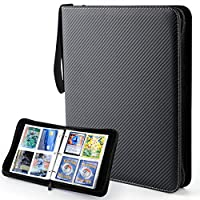 Baseball Card Binder Sleeves 400 Pockets, Trading Card Binder Holder Carrying Case, Cards Protector Sleeves Compatible with Pokemon, TCG, Skylanders, Top Trumps, Football Sports Cards, Black