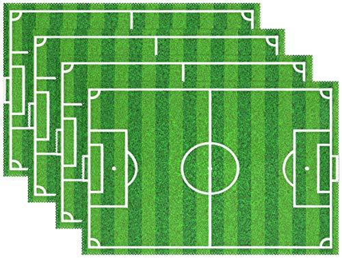 HEOH Manteles Individuales de 12 x 18 Pulgadas, 1 Pieza, Campo de fútbol Soccer, césped Verde, tapete de Mesa, Mesa de poliéster para Cocina, Comedor