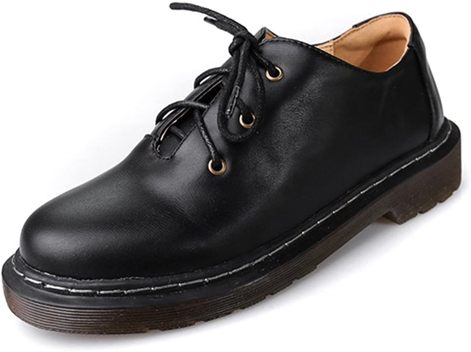 T-JULY Women's Vintage Oxfords shoes - Retro Lace-up Low Heel Round Toe Glossy shoes