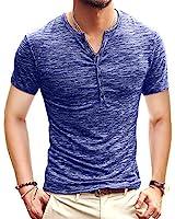 KUYIGO Men's Henley Shirts Short Sleeve Slim Fit Summer Shirts (X-Large, 01 Blue)