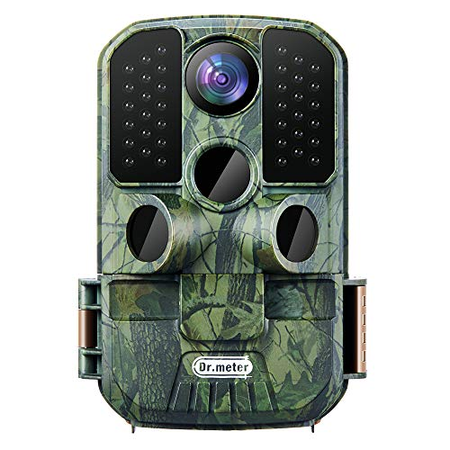 Dr.meter Wildlife Hunting Camera 24MP 1080P HD Trail Game Camera IP66 Waterproof 120° Wide Angle Lens Scouting Monitoring Cam with 45-LED Night Vision, 2.4' LCD, IR Sensor