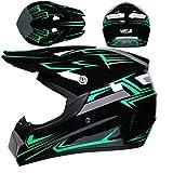 Casco da Discesa per Bambini, casco da moto da cross integrale nero e verde per bambini e adulti, set di caschi da moto per sport all'aria aperta MTB ATV per moto (S (54-55 cm))