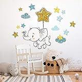 kina R00548 Adesivi Murali Stelle Nuvole Elefante Decorazione Muro Cameretta Bambino Asilo Nido Camera Letto…