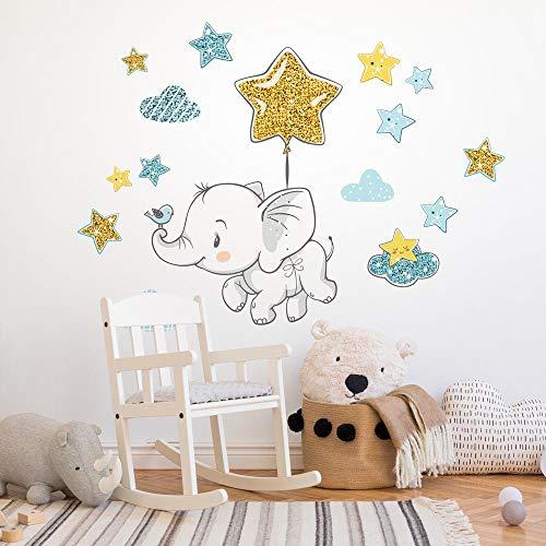 R00548 Adesivi Murali Soffice Effetto Tessuto Elefante Decorazione Muro Bambino Neonato Nursery Cameretta Asilo Nido Carta da Parati Adesiva