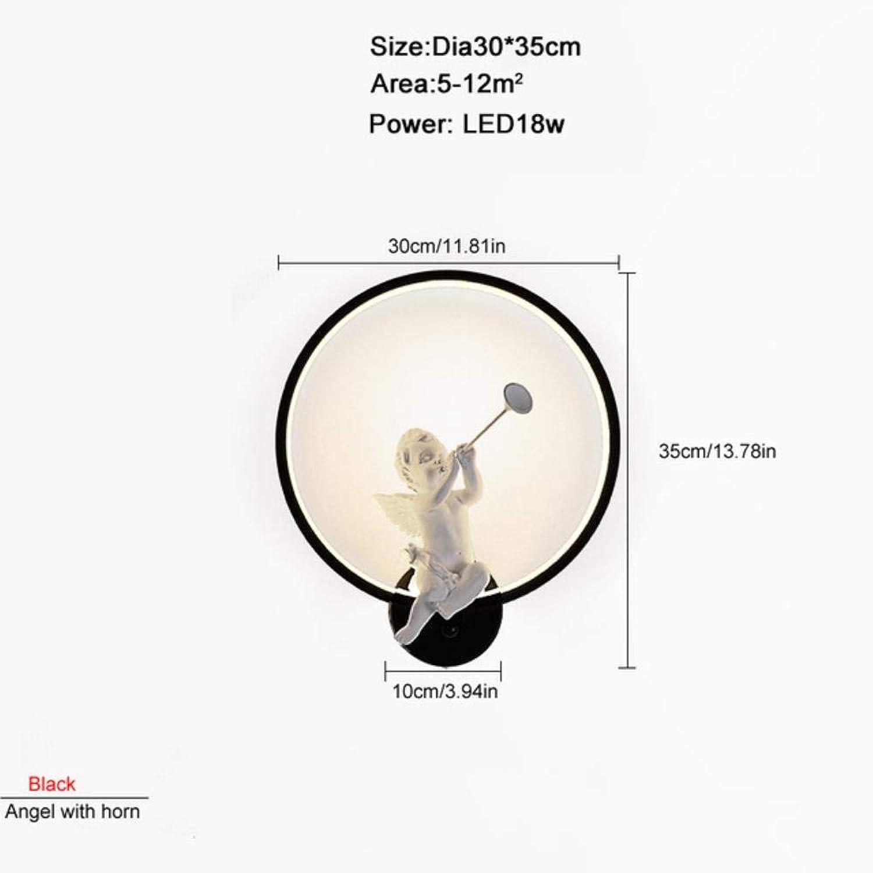 ZXINHome 18 Watt LED Wandleuchten Schlafzimmer Winkel mit Horn Einfache Stil Leselampe Flur Stand Beleuchtung Ac90-260V schwarz warm Weiß