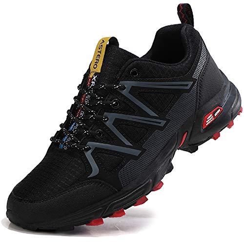 ASTERO Chaussures de Sport Homme Basket Course Mode Running Gym Fitness Respirantes Marche Sneakers Taille 41-46 (EU, Noir, Numeric_44)