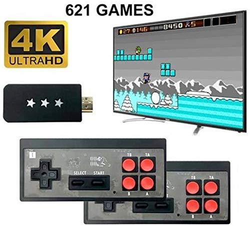 KJDFN QWER Retro Spiel-Konsole 4K HD Mini Classic Videospielkonsole, mit Wireless Controller, Einbauschränke 621 Klassische Spiele for Dual-Spieler