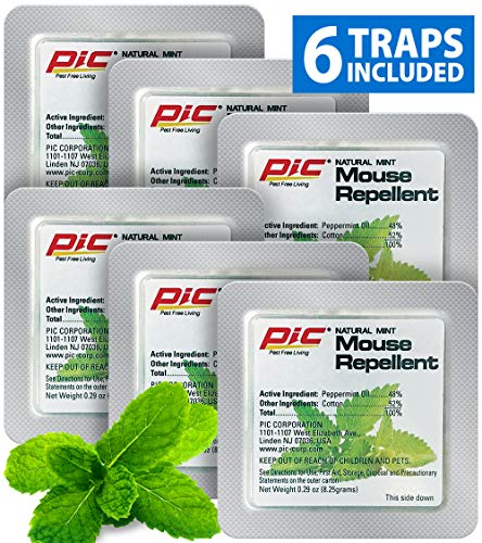 PIC Natural Mint Mouse Repellent (6-Pack), Effective Rodent Control Solution, Non-Toxic Mouse Deterrent, Mint Scented Mice Repellent, 180 Day Supply of Rodent Repellent for Cars & Homes, Rat Repellent