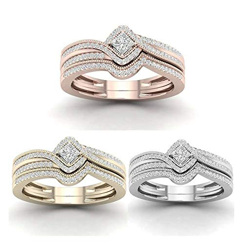 LXBIN Cubic Zirconia Bridal Rings Sets CZ Engagement Rings Wedding Band for Women