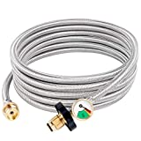SHINESTAR 15FT POL Stainless Braided Propane Hose Adapter with Propane Tank Gauge, 1lb