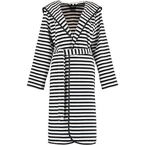 Michaelax-Fashion-Trade Cawö - Damen Bademantel mit Kapuze Streifen schwarz-weiß (6129)