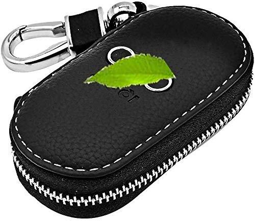 GeSoo Autoschlüssel-Schutzhülle, Universal-Autoschlüssel-Halter, echtes Leder, mit Edelstahl-Haken, Schlüsseletui mit Metall-Reißverschluss