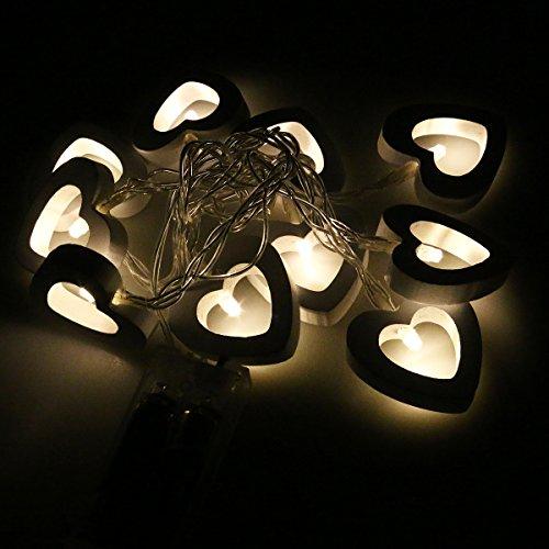 LEDMOMO LED Corazón de Madera Guirnalda Luminosa Bateria Operado Cadena de Luces Impermeable (Luz Blanca Cálida)
