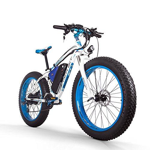 RICH BIT Bicicleta eléctrica para Hombres Adultos Big Tire Ebike 26'4.0, Potente Motor de 1000W, Snowbike con batería reemplazable 48V * 17Ah (Blanco Azul)