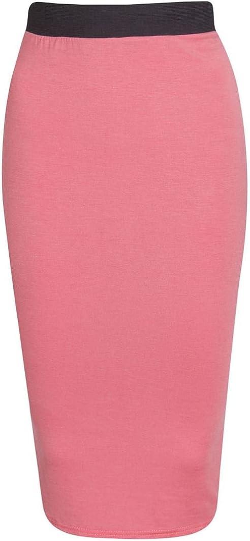 New Womens Ladies MIDI Pencil Plain Striped Bodycon HIGH Waist Tube Wiggle Skirt