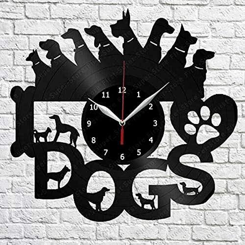 XYVXJ Me encantan los Perros Reloj de Pared con Disco de Vinilo Ideas para Regalos Hechos a Mano decoración de Arte de Pared Regalos de cumpleaños