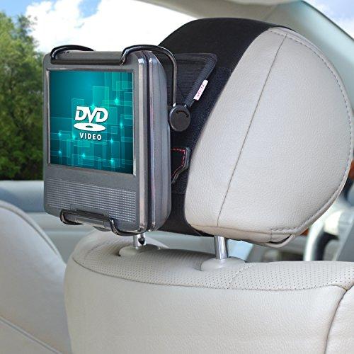 TFY Soporte Reposacabezas Universal con ángulo - Abrazadera de Sujeción Ajustable para 7 -10 Pulgadas DVD Portátil con Pantalla Giratoria,Negro