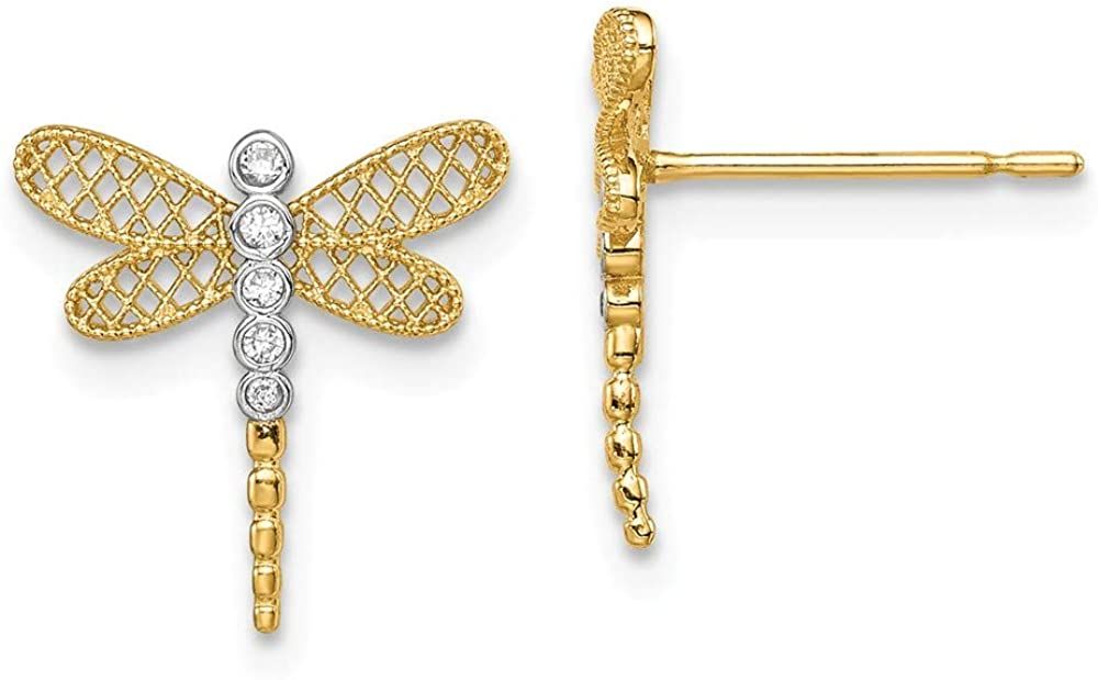 Solid 14k Yellow Gold Dragonfly CZ Cubic Zirconia Stud Earrings