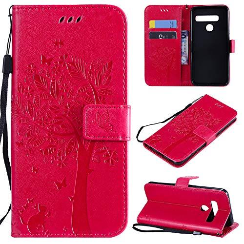 Nancen Compatible with Handyhülle LG G8 ThinQ Hülle, Flip-Hülle Handytasche - Standfunktion Brieftasche & Kartenfächern - Baum & Katze - Rose Red