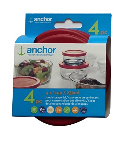 Anchor Hocking Replacement Lid 1 Cup / 236 ml, set of 4 lids, red round