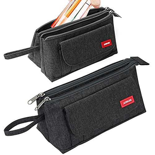 Pencil Case Big Capacity Pencil Pouch Durable Double Zipper Multifunctional Portable Pen Case Stationery Organizer Makeup Bag School Supplies for Student/Teens/Boys/Girls/Adults (Gray)