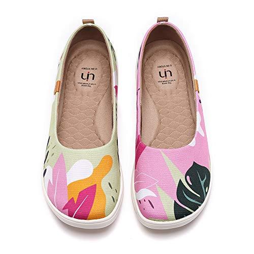 UIN Women's Ballet Flats Cute Floral Lightweight Slip On Art Painted Comfort Round Toe Shoes Summer Jungle (40)