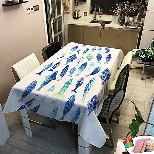 Morbuy Nappe Anti Tache Rectangulaire, Imperméable Étanche à l'huile 3D Poisson Bleu et Violet Imprimé Carrée Couverture de Table Lavable pour Ménage Cuisine Jardin Picnic Exterieur (C,90x90cm)