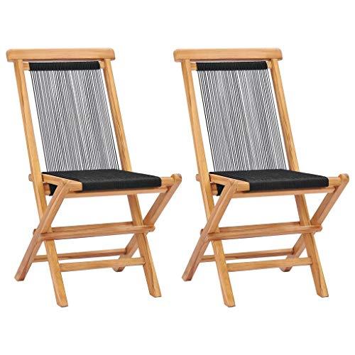 vidaXL Folding Garden Chairs 2 pcs Solid Teak Wood and Rope