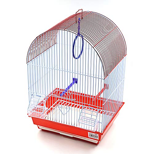 Jaula para pájaros con comederos, Palos y Columpios Jaulas pájaros casa Ave 34.5X28X49.5CM (Rojo)