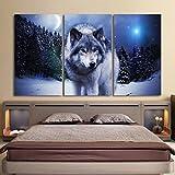 SQIANG Con el fotograma póster Panel 3 animal lobo pintura en tela Cuadros bastidor de pared...