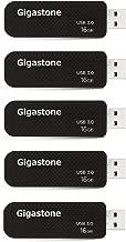 Gigastone 5 Pack 16GB USB 3.0 Flash Drive, Capless Retractable Design, Carbon Fiber Style, Memory Stick Thumb Drive Pen Drive, for PC Windows Linux Apple Mac Desktop Laptop