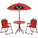 Outsunny Set Tavolo da Giardino con 2 Sedie Pieghevoli e Ombrellone per Bambini in Metallo e Poliestere, Rosso