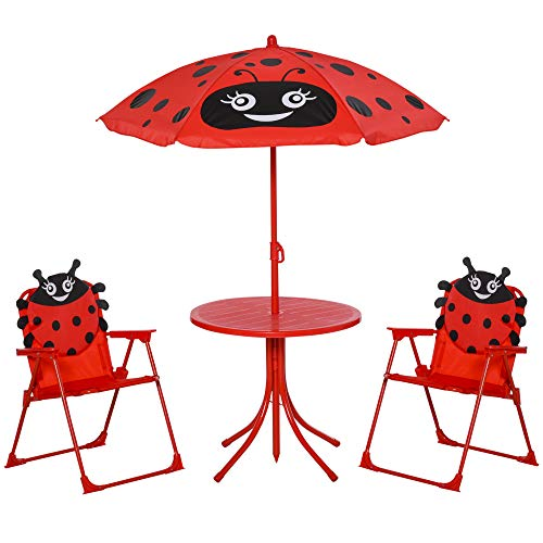 Outsunny Kids Outdoor Bistro Table and Chair Set Ladybird Pattern Garden Patio Backyard with Removable & Height Adjustable Parasol