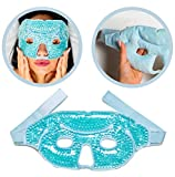 Gel Face Mask Cold Pack – Hot Cold Therapy Gel Bead Full Facial Mask - Ice Mask Migraine Headache – Relaxation Stress Heat Pain Relief – Reduces Puffiness Eyes Dark Circles Under Eyes