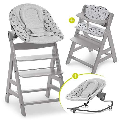 Hauck Alpha Plus Newborn Set mit Premium Bouncer - Baby Holz Hochstuhl ab Geburt mit Liegefunktion - extra flacher Aufsatz für Neugeborene & Baumwolle Sitzpolster - Grau