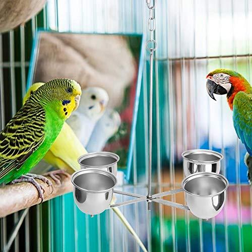 Taza de alimentación de Aves Duradera de 15 x 11,6 x 3 Pulgadas, Accesorio de Jaula de pájaros, para Colgar en la Jaula, Resistente al óxido y a la corrosión, para Loros y pájaros