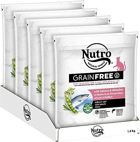 NUTRO GRAINFREE Katzenfutter Trockenfutter Adult mit Lachs und Weißfisch 5x1,4kg